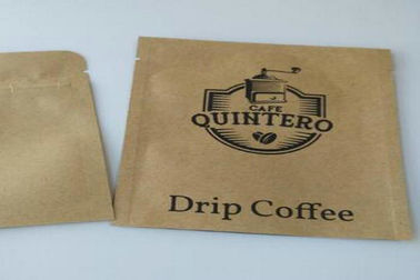 Gravure Printing Kraft Paper Pouch , Printing Reusable Coffee Packaging Paper Bags